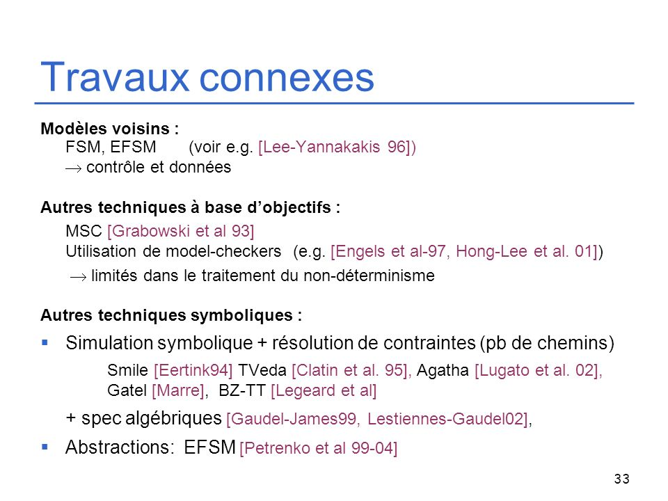 Travaux connexes Modèles voisins : FSM, EFSM (voir e.g. [Lee-Yannakakis 96])  contrôle et données.